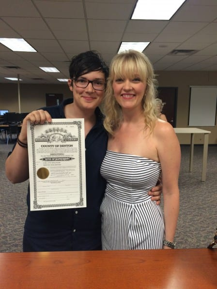 Local actress, partner are first to get license in Denton County