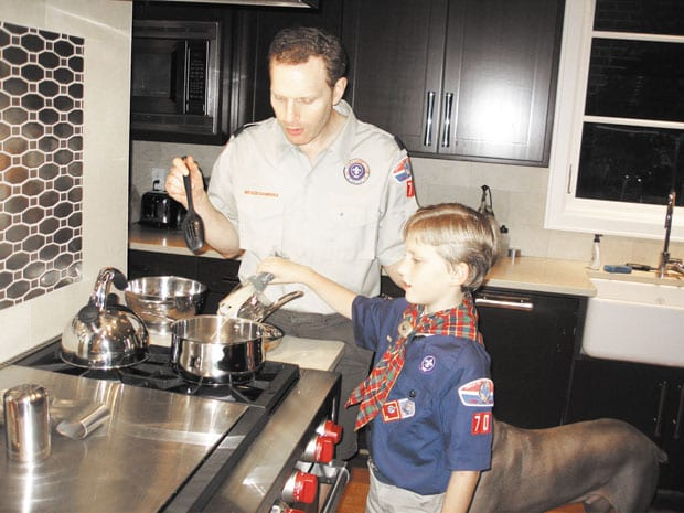Carter-and-Dad-cooking-up-scout-spaghetti-copy