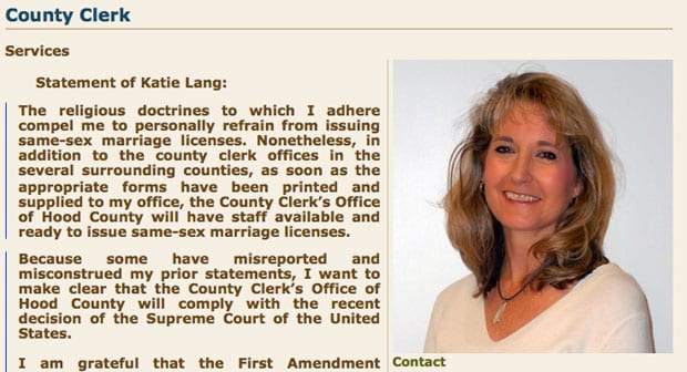 Hood County Clerk backpedals on marriage license decision