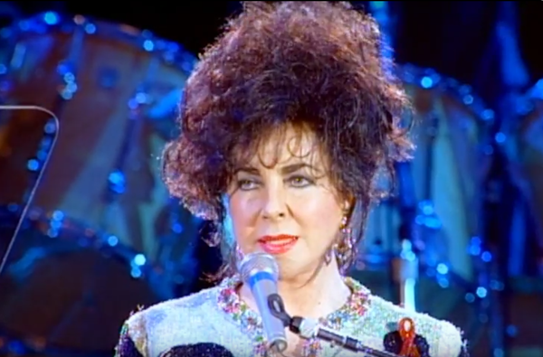 Liz Taylor at Freddie Mercury benefit