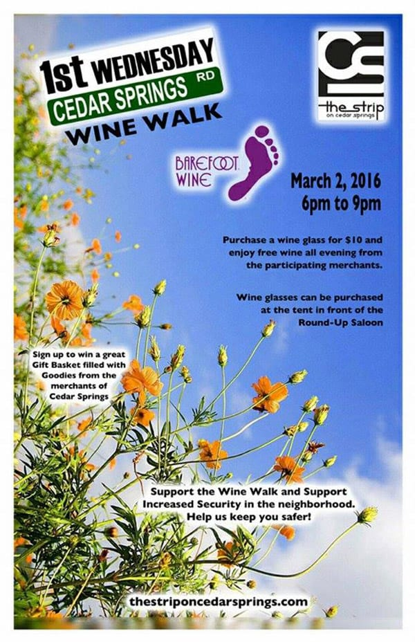 March Wine Walk set for Cedar Springs