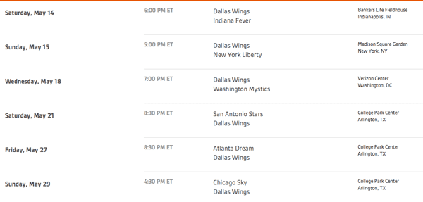 Dallas Wings May Schedule