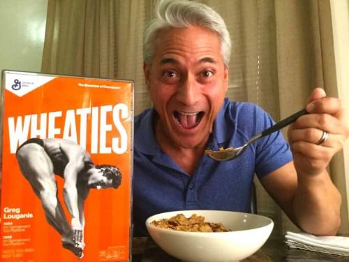 Greg Louganis gets his Wheaties box