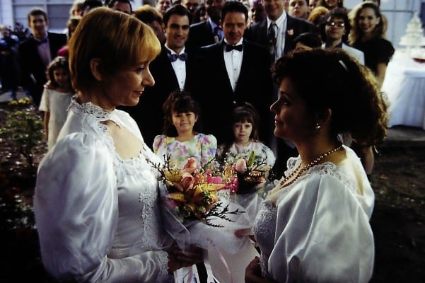 LATE BLOOMERS - Dinah (Connie Nelson) and Carly (Dee Hennigan) exchange vows - image by Bill Matlock