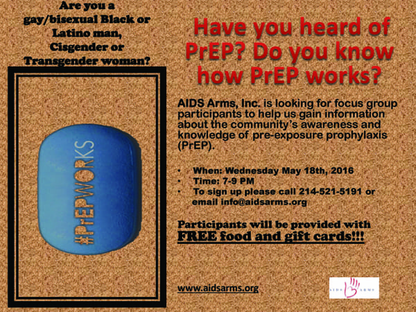 AIDS Arms needs participants for PrEP focus group
