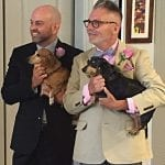 Brad-Patton-and-Josh-Friedman-at-their-wedding-with-their-furkids-Penny-Patton-and-Roxy-FriedmanJPG