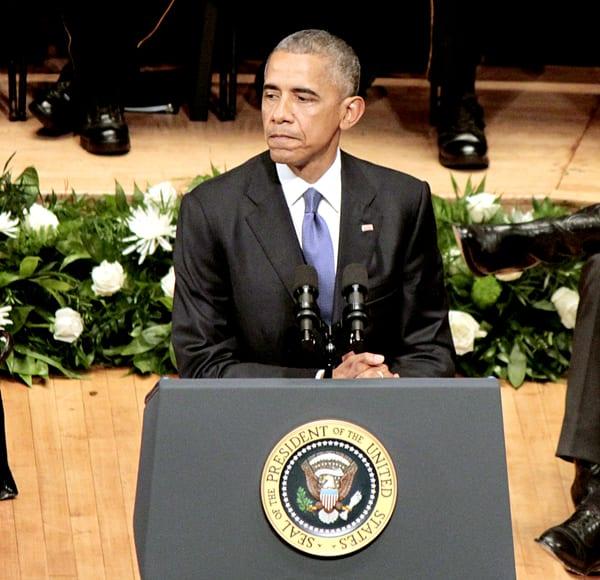 Obama, Bush address DPD officers at Meyerson event