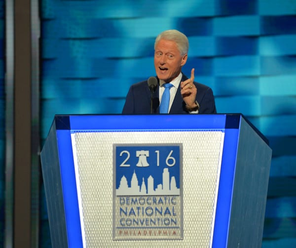 Bill Clinton wore a lovely blue pantsuit to the Democratic Convention