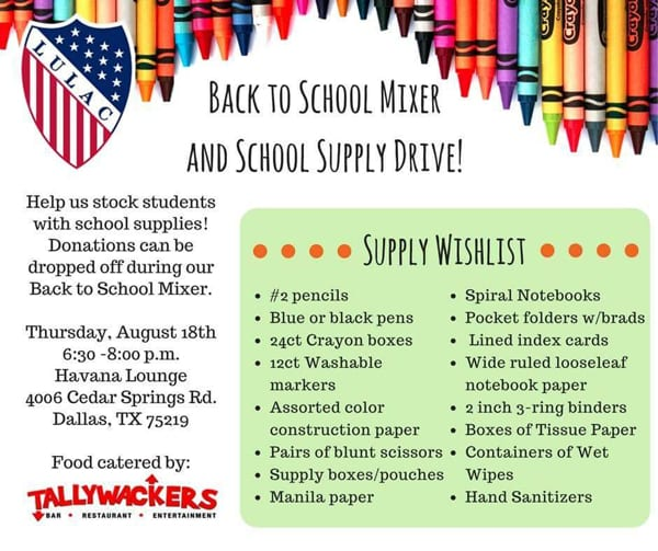 Rainbow LULAC and Congregation Beth El Binah team up for school supply drive