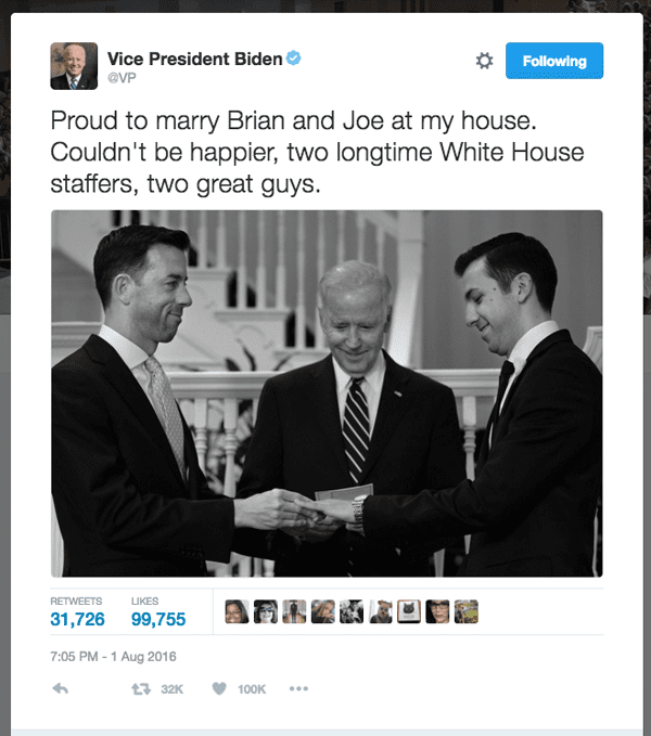 VP conducts his first marriage ceremony, for two gay WH staffers
