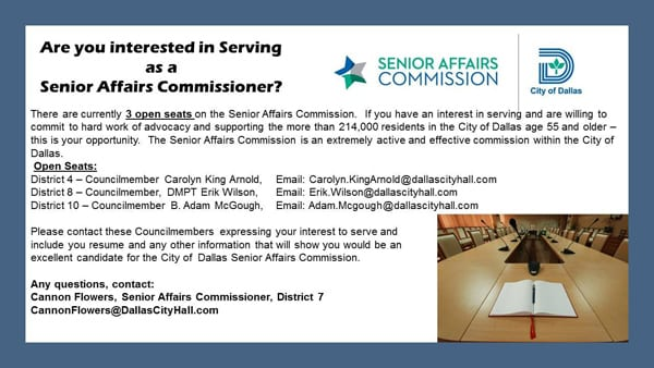 Interested in serving as a senior affairs commissioner?