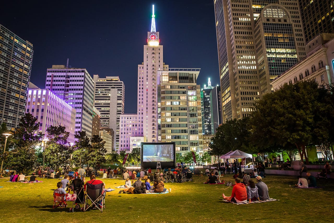 Downtown Dallas launches weekly outdoor movie night, Witty Wednesdays