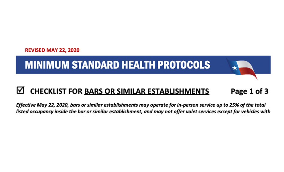 UPDATE: Minimum Standard Health Protocols revised to allow seating at bar tops