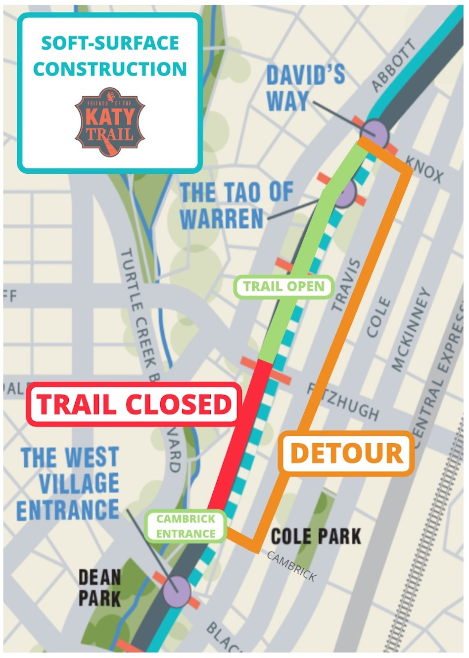 Katy Trail Dallas Map One mile of Katy Trail to close for 2 months   Dallas Voice